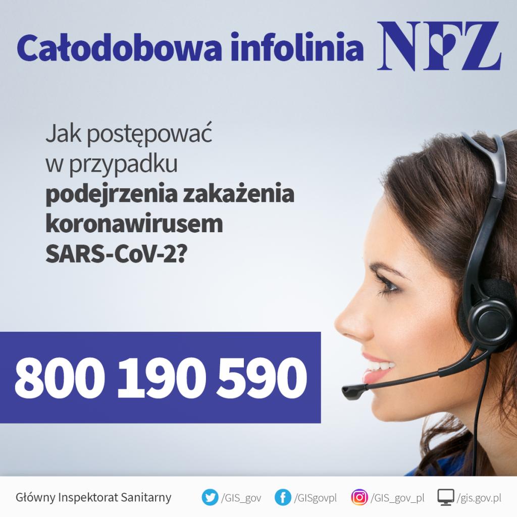 calodobowa infolinia NFZ jak- postepowac w przypadku podejrzenia zakazeniaKoronawirusem SARS-CoV-2 numer telefonu 800-190-590 glowny inspektorat sanitarny